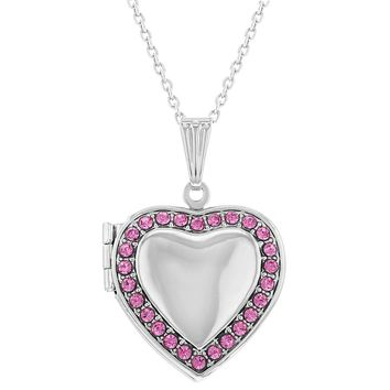 """Pink Crystal Heart Photo Locket Memory Pendant Necklace for Girls 16"""""""