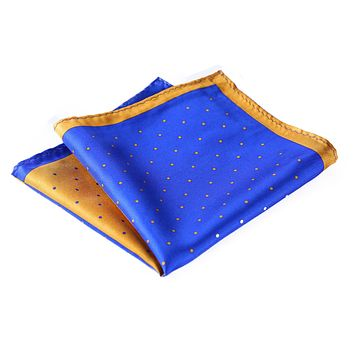 Blue Yellow Micro Dot 100% Silk Pocket Square