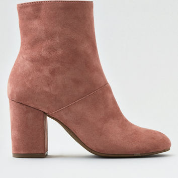 Microsuede High Covered Heel Bootie, Rose