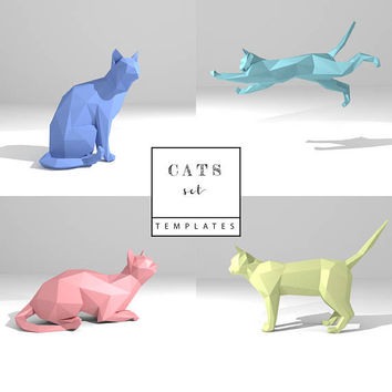 Printable DIY template (PDF). Cats Set: Wise Cat, Sitting Cat, Cat, Flying Cat low poly paper models. 3D paper sculpture. Origami.