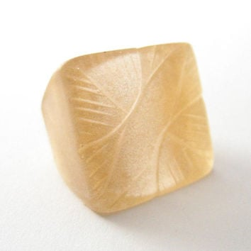 Champagne gold resin ring jewelry , square cocktail resin ring jewellery , size 8 feather resin ring , Sydney Australia fern flat opaque