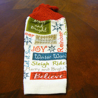 Winter and Holiday Greetings Hanging Dish Towel With Hand Knit Topper and Ties
