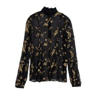 Black and Gold Embroidered Floral Chiffon Blouse