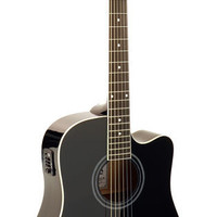 Hohner AS305CE-BK Black Dreadnought Cutaway Acoustic-Electric Guitar