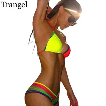 Trangel Neon Bandage Bikini sexy Bright Color Strappy swimsuit brazilian beachwear Swimwear women 2017 Bikini set biquini