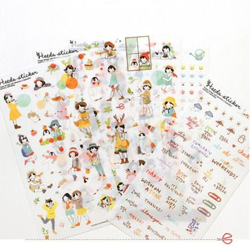 Cute Diary Sticker Scrapbook Decoration 6sheets/lot Lovely Girl Transparent Planner Calendar Book  Vintage Paper Stickers Diary