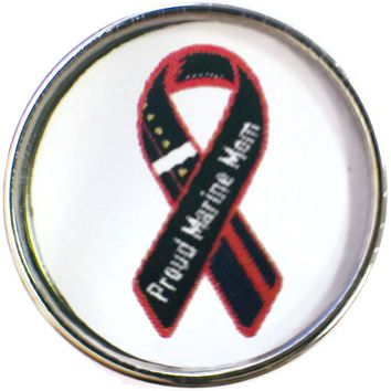 Proud Marine Mom Marine Corp Support Our Troops Ribbon 18MM - 20MM Snap Charm New Item