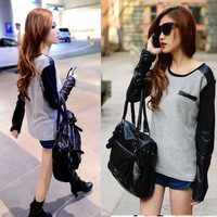 Fashion Women Girls Crewneck Casual Leather Long Sleeve T-Shirts Tops Tee Blouse