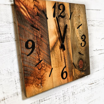 Reclaimed Barn Wood Clock, Rustic Barn Wood Wall Clock, Wooden Clock, Rustic Home Decor, Large Unique Wall Clock, 5 year Anniversary