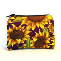 """Big Sunflowers on Purple Cotton Padded Pipe Pouch 4"""" / Glass Pipe Case / Spoon Cozy / Piece Protector / Pipe Bag / MINI"""