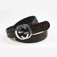 GUCCI Fashion Smooth Buckle Belt Leather Belt For Women