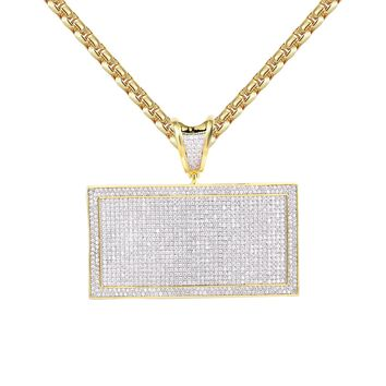 Men's Custom Iced Out Rectangle Bar 14k Gold Finish Pendant Necklace