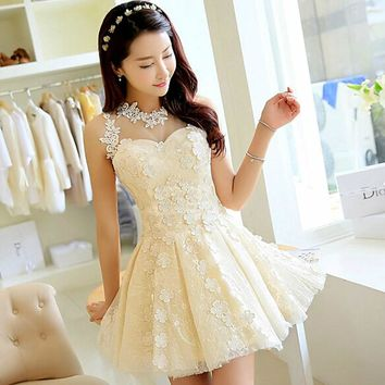 Suosikki 2015 Princess Style short champagne lacing pecial occasion dress for prom wedding and graduation party evening dresses
