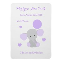 Elephant Baby Girl Stats Purple Lavender Chevron Receiving Blanket