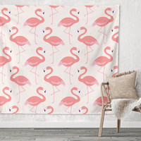 Flamingo Flock Pink Birds Trendy Boho Wall Art Home Decor Unique Dorm Room Wall Tapestry Artwork
