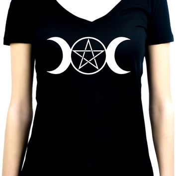 White Triple Moon Goddess Pentagram Women's V-Neck Shirt Top Witchy Clothing