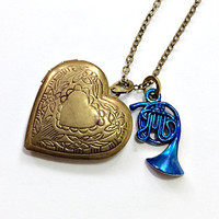 Heart Locket with Blue French Horn Necklace Inspired by How I Met Your Mother: Robin Scherbatsky's Something Old