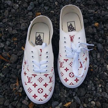 CREYONS Vans x Supreme x Lv Old Skool Leather Sneakers Sport Shoes