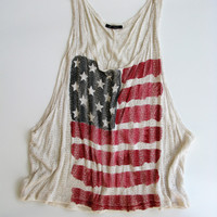 The Classic Brand American Flag BoHo Chic Knit Tank M