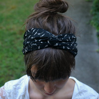 Black and White Floral Turban Headband