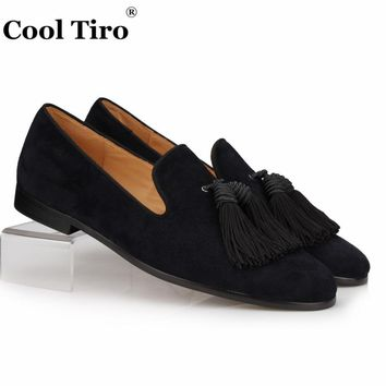 COOL TIRO Black Suede Loafers Men Handmade Tassels Slippers