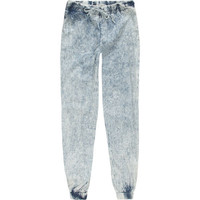 Zco Acid Wash Chambray Girls Jogger Pants Acid Wash  In Sizes