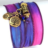 Hand Dyed Silk Wrap Bracelet - Dazzle Gold Plated Henna Hamsa, Tree of Life, and Fushia Swarovski Crystals