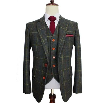 Wool Green Tweed Custom Made Men suit Blazers Retro tailor made slim fit wedding suits for men 3 Piece