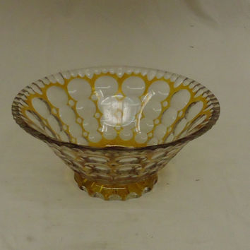 Designer Fruit Bowl 10in x 10in x 4 1/2in Clear/Gold Retro Vintage Glass -- Used
