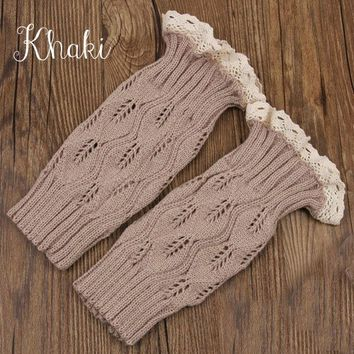 Khaki Lace Button Boot Cuffs