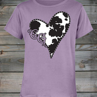 Country Girls™ Cow Heart W/ Sequin Scoop Neck Tee