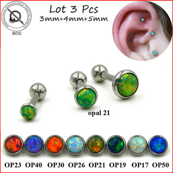 BOG-Lot 3pcs 316L Surgical Steel Ear Tragus Cartilage Barbells Piercing Stud Ring With Opal Stone 16g Body Jewelry Earring