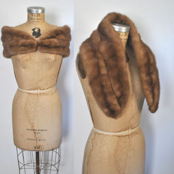 1950s Mink Fur Stole / small shawl