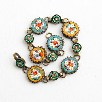 Antique Micro Mosaic Flower Bracelet - 1920s Art Deco Vintage Brass Panel Colorful Glass Tesserae Italian Costume Jewelry