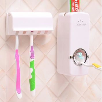 Automatic Toothpaste Dispenser 5 Wash Toothbrush Holder Set Wall Mount Stand Tooth Brush Case Family Bathroom Sets Wall Hanging