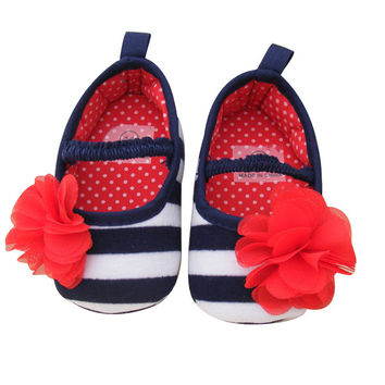 1 Pair Soft Sole Baby Boy Girl Toddler Newborn Infant Flower Striped Shoes Anti-slip Cotton Prewalker Winter Autumn Warm