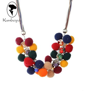 New Fashion Woman Pompoms Necklace Cute Hair Ball Multilayer Collar Necklace & Pendant Christmas gifts Pom poms Maker N15650