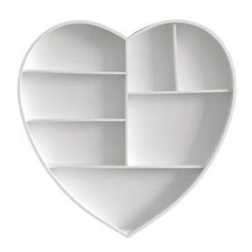 Adeco WS0375 Decorative White Wood Wall Hanging Shelves Cabinet - Organizers Storage For Home Decor Wall Art, Heart Shape