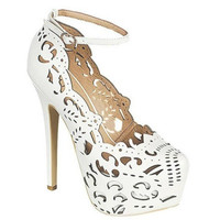 Abbas high #heel #pumps with crochet detail white wedding shoes