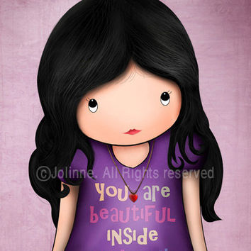 Famous quote children art print for girls room or nursery , you are beautiful inside and out , purple children room art