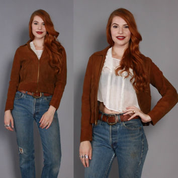 40s DEERSKIN Suede JACKET / 1940s Cropped Tiny Fit Cinch Buckle Coat xs - s