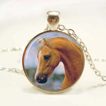 Palomino Pony Photo Pendant Necklace Resin Horse Photo Pendant Horse Lovers Necklace