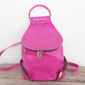 SALE - Pink Leather Backpack, Satchel bag Handmade Soft Leather School College Travel Picnic Weekend bag, Gift For Her