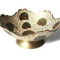 Authentic,Vintage Bronze Candy Bowl Manually Painted in Japan 1960
