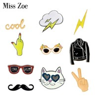 Bargain price Cartoon Collection Enamel pin lightning clouds moustache cat sunglasses Brooches lapel pin Button badge Funny Gift