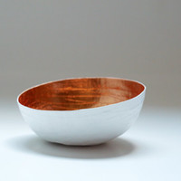 Paper Mache Bowl White and Copper The Mini by etco on Etsy