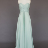 Simple Chiffon Long prom dress, evening dress, Party dresses, Long Bridesmaid Dress With Sweetheart Neckline