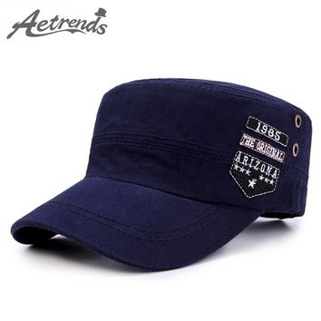 [AETRENDS] New Cotton Military Caps Flat Hats for Men Women Army Cap Captain Hat Military Hat Z-6505