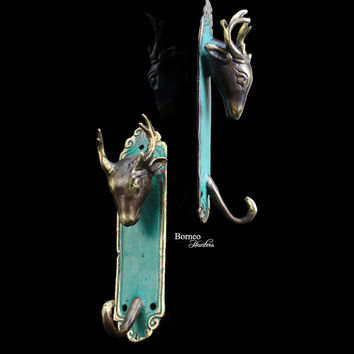 "Deer Coat Hook,Hat Hook/Key Hook/Jewelry Hook,Animal Theme Decorative Wall Holder Cloth Hanger(Set Of 2) 5.5""Handcast Brass Accented Green"