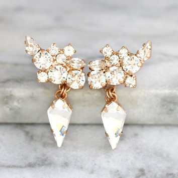 Climbing Earrings, Bridal Climbing Earrings, Swarovski Clear Crystal Bridal Earrings, Bridal Rose Gold Earrings, Cluster Gold Drop Earrings